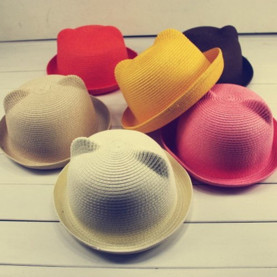 Summer Baby Hat Cap Children Breathable Straw Hats Children's cat ears sunhat Kids Cute Solid Boy Girls Hats 2018