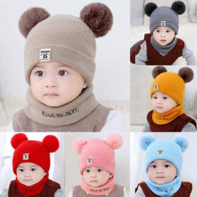 Kids Winter Wool Hats Scarf For Baby Boys Girls Fur Ball Pom Hat O-Collar Scarf Winter Warm Knit Crochet Beanie Cap Scarf Set